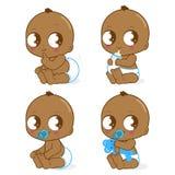De leuke Afrikaanse Amerikaanse vectorreeks van de babyjongen royalty-vrije illustratie