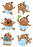 De leuke Afrikaanse Amerikaanse vectorreeks van de babyjongen stock illustratie