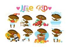 De leuke Afrikaanse Amerikaanse Zuigeling van het de Peuter Gelukkige Beeldverhaal van de Babyjongen Vastgestelde in Luierinzamel royalty-vrije illustratie