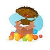 De leuke Afrikaanse Amerikaanse Zuigeling van het de Peuter Gelukkige Beeldverhaal van de Babyjongen Vrolijke in Luier vector illustratie