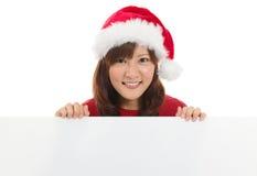 De leuke Aziatische vrouw van Kerstmissanta Stock Afbeelding