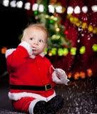 De leuke baby van de Kerstman royalty-vrije stock foto