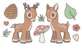 De leuke beeldverhaal vectorinzameling plaatste met herten, mannetje en bos verwante grafiek zoals blad, paddestoel, sparappel en royalty-vrije illustratie