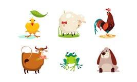 De leuke beeldverhaaldieren plaatsen, kip, schapen, haan, koe, kikker, hond vectorillustratie stock illustratie