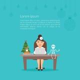 De leuke beeldverhaalkarakter otolaryngoloog van de artsenvrouw of dentistChristmas medische illustratie Vrolijke Kerstmis en Royalty-vrije Stock Foto