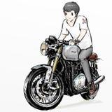 De leuke berijdende motorfiets van de beeldverhaaljongen Royalty-vrije Stock Foto's