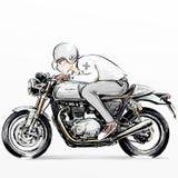 De leuke berijdende motorfiets van de beeldverhaaljongen Stock Afbeelding