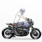 De leuke berijdende motorfiets van de beeldverhaaljongen Stock Afbeeldingen