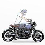 De leuke berijdende motorfiets van de beeldverhaaljongen Royalty-vrije Stock Fotografie