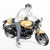 De leuke berijdende motorfiets van de beeldverhaaljongen Royalty-vrije Stock Afbeeldingen