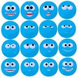 De leuke Blauwe Illustratie van de Kunst Emoticon Royalty-vrije Stock Afbeelding