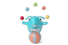 De leuke blauwe pudding van de beeldverhaalolifant met bal, 3D illustratie Stock Foto's