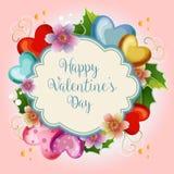 De leuke bloemen blauwe achtergrond van de valentijnskaartillustratie stock illustratie