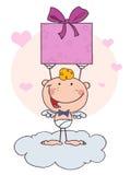 De leuke Cupido van de Stok met Gift en Harten Royalty-vrije Stock Fotografie