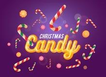 De leuke die doopvont en de snoepjes van het Kerstmissuikergoed op de violette achtergrond wordt geplaatst Stock Foto