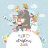 De leuke dieren met Santa Claus nemen een selfie royalty-vrije illustratie