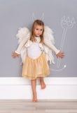 De leuke dochter van de engelenduivel Royalty-vrije Stock Afbeeldingen