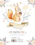 De leuke de eekhoorn dierlijke affiche van de waterverf Boheemse baby voor nursary, alfabetbos isoleerde bosillustratie voor Stock Foto's