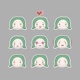 De leuke Eenvoudige Geplaatste Emoties van het de Babymeisje van het Tekenings Groene Turkooise Haar Stock Afbeelding