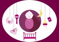 De leuke elementen van het babymeisje, illustratie Stock Afbeeldingen