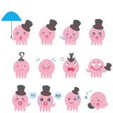 De leuke emotionele pictogrammen van de Octopus Royalty-vrije Stock Foto