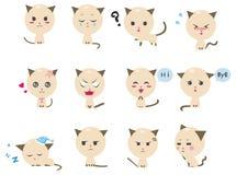 De leuke emotionele pictogrammen van het Katje Stock Afbeelding