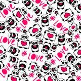De leuke en grappige hand getrokken panda's met de typografie van de hartenliefde ontwerpen naadloze patroonvector Stock Afbeelding