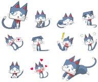 De leuke en grappige mascotte van het de kattenkarakter van het beeldverhaalkatje Stock Fotografie