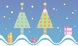 De leuke en kleurrijke achtergrond van de Kerstmisboom Stock Afbeeldingen