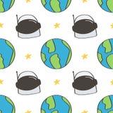 De leuke en kleurrijke ruimteachtergrond van het krabbels naadloze patroon met ruimtevaardershelm en aarde Royalty-vrije Stock Afbeelding