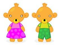 De leuke en Positieve Baby draagt de Vector van de Jongen en van het Meisje Stock Foto's