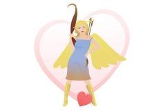 De leuke engel die van de Cupido een boog, met hartbackgro houdt Royalty-vrije Stock Foto