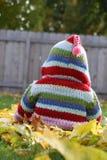 De leuke foto van babypeuter weinig jong geitje met sweatshirtzitting met een kap in daling gaat buiten in werf weg Royalty-vrije Stock Afbeeldingen
