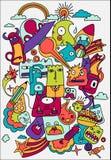 De leuke gekke vectorillustratie van het krabbelsleven stock illustratie