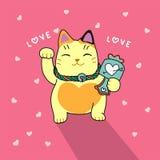 De leuke gelukkige illustratie van het kattenbeeldverhaal Stock Afbeeldingen