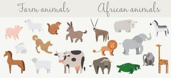 De leuke geplaatste dieren van Afrikaan en van het landbouwbedrijf Royalty-vrije Stock Afbeelding