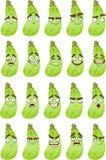 De leuke glimlach van de beeldverhaalpompoen met vele uitdrukkingen Stock Afbeelding