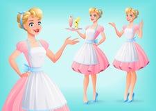 De leuke glimlachende huisvrouw in schort in divers stelt Beeldverhaal polair met harten royalty-vrije illustratie