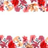 De leuke grens van de waterverfbloem Achtergrond met waterverf rood FL Stock Afbeelding