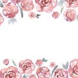 De leuke grens van de waterverfbloem met roze rozen uitnodiging De kaart van het huwelijk Birthda Stock Foto