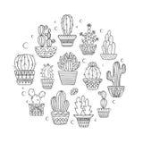 De leuke hand getrokken vector cactuse plaatste stock illustratie