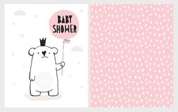 De leuke Hand Getrokken Vector Geplaatste Illustraties van de Babydouche Wit draag met Roze Ballon Kinderontwerp stock illustratie