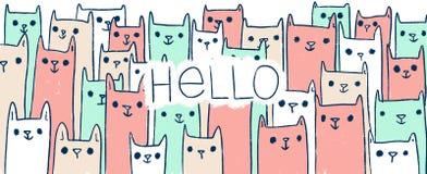 De leuke handdrawn katten van de krabbelillustratie met tekst HELLO Stock Foto's
