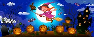 De leuke heks van Halloween op een bezem stock foto