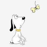 De leuke hond kijkt op het been Royalty-vrije Stock Fotografie