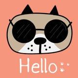 De leuke Hond met zegt Hello Vector illustratie vector illustratie