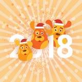 De leuke Honden die van de Vakantiebanner het Teken van Santa Hats Happy New Year dragen 2018 Stock Foto's