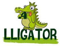 De leuke hongerige alligator eet embleem De Vector van krokodillogotype Krokodilleillustratie Vet weinig croc Vriendschappelijk d royalty-vrije illustratie