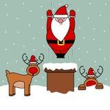 De leuke illustratie die van beeldverhaal vector grappige Kerstmis van Santa Claus in schoorsteen vallen Stock Foto