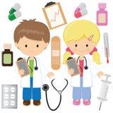 De leuke illustratie van het artsen vectorbeeldverhaal Illustratie van het geneeskunde de vectorbeeldverhaal royalty-vrije stock fotografie